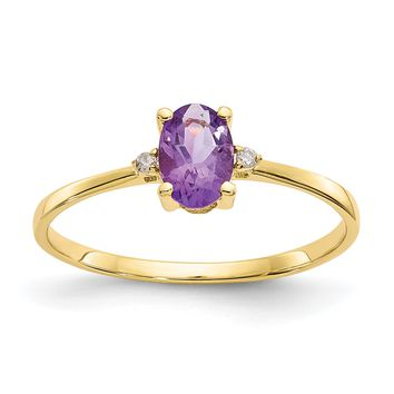 14k or 10k Yellow Gold Diamond & Amethyst Oval February Birthstone Ring