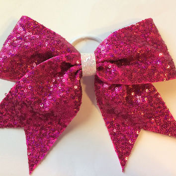 Breast Cancer Awareness Bow - Hot Pink Sequin Cheer Bow