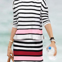 Multicolor Striped Top With Elastic Waist Skirt