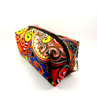 Bright Bohemian Makeup Bag, Zippered Cosmetic Pouch, Travel Size, On The Go, Boxy Pouch, Heavyweight, Pencil Case