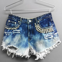 High Waisted Jean Shorts - Bleached and Studded