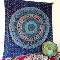 LARGE elephant mandala hippie tapestry wall hanging indian cotton bedspread throw boho bohemian bedding cover ethnic wall decor
