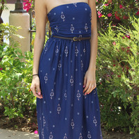 Tube Top Strapless Floral Maxi Dress