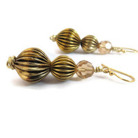 Oxidized Corrugated Graduated Metal Bead Earrings, Prom Earrings, Mother's Day Gift