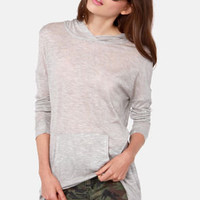 Cozy Up Grey Hooded Long Sleeve Top