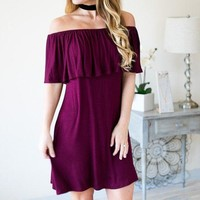 Cast Away Maroon Off the Shoulder Dress