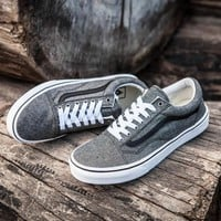 Vans Old Skool Gray Low Tops Flats Shoes Canvas Sneakers Sport Shoes