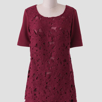 Crimson Flora Lace Dress