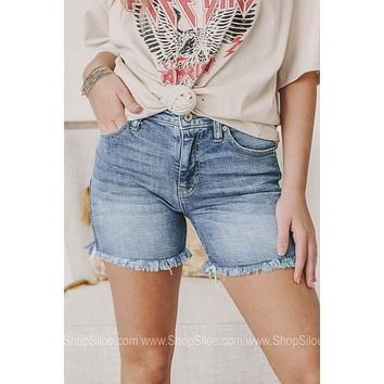 Here To Inform You High Rise Denim Shorts