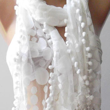 White - Elegance  Shawl -- Scarf with Lacy Edge---