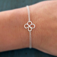 Sterling Silver Four Leaf Clover Bracelet Good Luck Charm Simple Minimalist Jewelry bridesmaid gifts