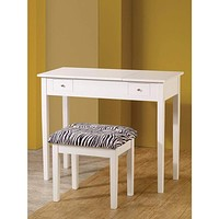 Contemporary Lift-Top Vanity with Upholstered Stool, 2 Piece, White