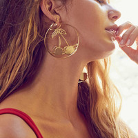 Etched Cherry Statement Hoop Earring | Urban Outfitters
