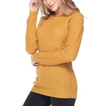 Round Neck Waffle Knit Pullover Sweater Top