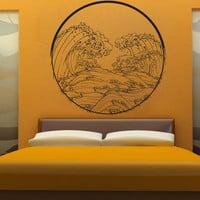 Vinyl Wall Decal Sticker Japanese Wave Circle #1364