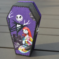 Jack and Sally The Nightmare Before Christmas Purple Wooden Coffin Trinket Box