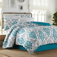 Carina 6-8 Piece Complete Comforter Set in Turquoise