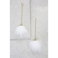 Long Lines Tassel Earrings in White and Gold
