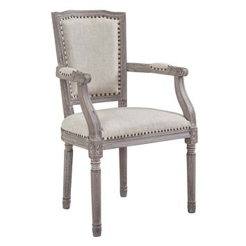 Penchant Vintage French Upholstered Fabric Dining Armchair