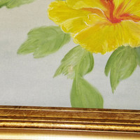 Vintage Framed Painting, Flower, Gold Colored Frame, Yellow, Blue, Green, Canvas, Painting, Local Artist, Beach Decor, Wall Hanging