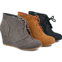 Womens Ankle Booties Wedge Faux Suede Lace Up Boots Size 6-10 Tan Dk Taupe Black