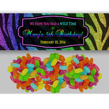 Rainbow Zebra Bag Toppers - Faux Glitter Rainbow Goody Bag Party Favors - Diva Personalized - Valentine Bag Topper - Animal Print Glitz