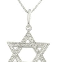 Mens Real 925 Sterling Silver Jewish Star Pendant with a 24 Inch Box Chain Necklace