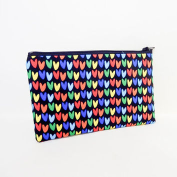 Heart Pouch, Valentine's Day Gift, Pouch, Heart Zipper Pouch, Black Change Purse, Fabric Pouch, Cute Coin Purse, Gift for Her, Multi Colored