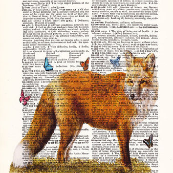 Red Fox With Butterflies-home wall decor art -Dictionary Print-Home Dorm Wall Deco -red fox gift poster, Gift Print, Home Decor - wall decor