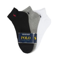 Polo Ralph Lauren 3 Pack Classic Cotton Sport Socks,(Black, White, Grey) O/S