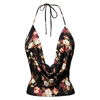 Lightweight Sexy Low Cut Neck Floral Print Halter Top with Stretch (CLEARANCE)