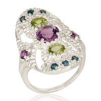 925 Sterling Silver Amethyst, Blue Topaz And Peridot Cluster Statement Ring
