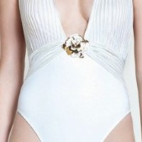 Gottex 2013 White Deep Plunge Swimsuit
