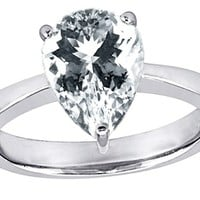 Star K 11x8 Pear Shape Solitaire Ring Genuine White Topaz Size 8