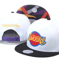 Los Angeles Lakers Gold Logo Black Bill Mitchell & Ness White Blue Red Snap Back Hat