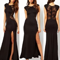 Leshery Sexy Trendy Elegant Womens Slim Long Maxi Lace Gown Evening Cocktail Party Dress Black (XL)