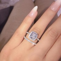 17IF Fashion Engagemen Zircon Crystal Rings Womens Girls Silver Filled Wedding Ring Set Lover Wedding Jewelry Party Gift 2019