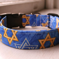 Handmade Dog/Cat Collar - Chanukah Dog Collar - Adjustable Buckle - Hanukkah Channukah Jewish Star of David Dog Accessory Pet Accessories