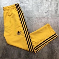 ADIDAS Hot Sale Multicolor Trouser Women Men ELASTIC WAISTBAND Lovers Pants   Yellow