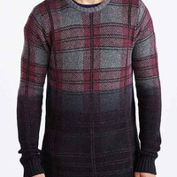 The Narrows Ombre Plaid Side-Zip Crew Neck Sweater- Grey