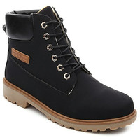 Short PU Suede Boots With Lace-Up
