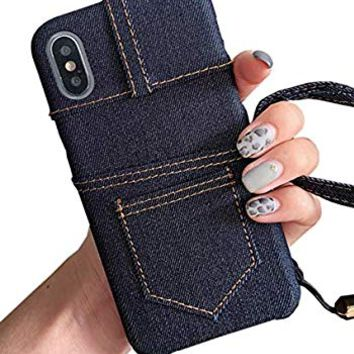 UnnFiko Jean Wallet Phone Case with Credit Card Holders, Cowboys Cloth Jeans Pocket Cover with Card Slots Compatible with iPhone 7 Plus/iPhone 8 Plus (Dark Blue, iPhone 7 Plus / 8 Plus)
