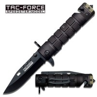 TAC Force TF-636BGN Assisted Opening Folding Knife, Black Half-Serrated Blade, Black/Green Handle, 4-1/2-Inch Closed
