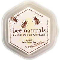 Bee Naturals Best Mango Skin Cream Bar - Solid Form Hand Lotion - Purse Size Travel Container - Smooth, Soothe and Soften Your Hands
