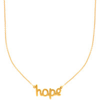 14K Yellow Gold Hope Script Pendant On 18 Inch Necklace