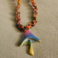 Multicolored hemp necklace with colorful shroom by StealthVortex