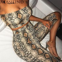 AOSSILIND Snakeskin Print Strapless Sexy Two Piece Playsuit Women Off Shoulder Crop Top and Shorts Set Casual Short Jumpsuit