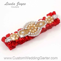 """Red and Gold Pearl Beaded Wedding Garter """"Charlotte 01"""" Gold"""