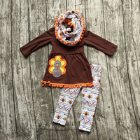 FALL OUTFITS  girls 3 pieces sets with scarf girls thanksgiving  pant sets girls boutique clothes kids brown top sets