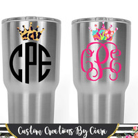 Pattern Crown Monogram Decal | Lilly Princess Monogram | Tiara Monogram | Cheetah Yeti Monogram | Crown Decal | Crown Name | Queen Decal
